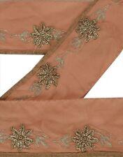 Antique Vintage Saree Border Hand Beaded Indian Craft Trims 2Yd Decor Lace
