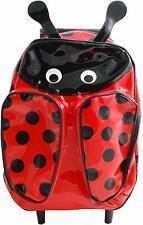 Sassafras Kid's Red Ladybug Roller Trolley Pull Along School Vinyl Backpack Bag