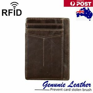 RFID Genuine Leather Credit Card Holder Photos Strong Simple For Man Travel Bag