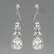 White Gold Plated Cubic Zirconia CZ Wedding Bridal Drop Dangle Earrings 252 Hook