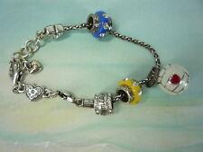Brighton Silver Plated Enamel Soccer Mom Charm Bracelet  Ls1