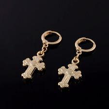 FIN003-Fashion Luck Cross Earings Gold Plated Girls Kids Dangle Hoop  Earrings