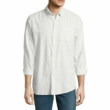 Arizona Men's Long Sleeve Button Front Shirt Color: Polar Bear Black Size: XL