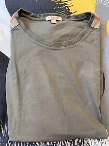EUC Authentic Burberry Men T-shirt Shoulder Patch Nova Check Plaid L M $185