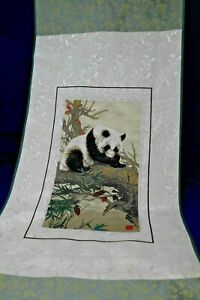Authentic Chinese Silk Tapestry Scroll  Panda Bear  Gold and Green- 4 Ft. Long