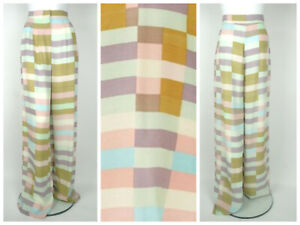 New MARA HOFFMAN Wide Leg Striped High Waisted Pastel Trousers Size S