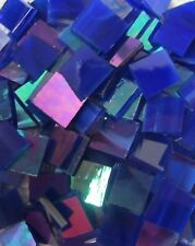 BLUE IRIDIZED Stained Glass Mosaic Scrap Pack, about 100 Hand Cut PIECES