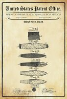 Us Brevet Cigare 1887 Pancarte en Tôle Signe Métal Voûté Panneau Étain 20 X 30
