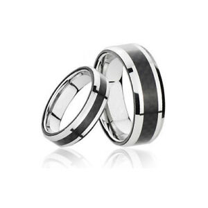 Men's and Women's Silver Carbon Tungsten Wedding Band Ring TR04