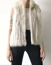 Saga White Silver Fox Fur Vest Size Large L