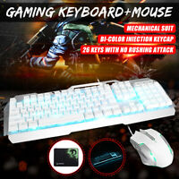 PC Gaming Keyboard and Mouse and Pad Set Mechanical Feel Led Light Backlit White