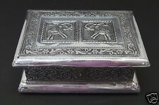 Jewelry Box Square Antique India 2 Elephant Floral Stamped Metal Vintage New