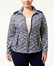 NWT Charter Club Women's Space-Dyed Blue Front Zipper Jacket Size 0X Retail