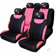 For Mazda New Flat Cloth Black and Pink Car Seat Covers With Paws Set