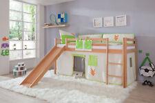 Vorhang für 3 Seiten für Hochbett Spielbett Etagenbett Indianer grün beige