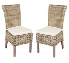 Pair of Earle White Wicker Dining Chairs with Fabric Seats / Kitchen Chairs