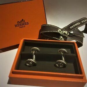 "Hermès ""Noeuds Marins"" silver rope cufflinks boutons manchettes genuine Hermes"