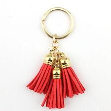 Fashion Casual Velvet Leather Tassel Women Keychain Bag Pendant Car Key Chain
