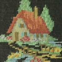 Antique 19th Needle Point Folk Art Country Primitive Signed
