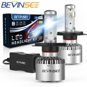 BEVINSEE 9003 H4 LED Headlight Bulbs Conversion Kit Hi/Low Beam 60W 8000LM 6500K