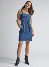 Dorothy Perkins Womens Blue Belted Pinafore Mini Dress Sleeveless Belt Detailing