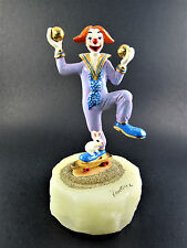 SIGNED RON LEE HAND PAINTED BRONZE METAL CIRCUS JUGGLING CLOWN FIGURINE (LE)