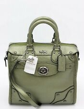 NWT Coach Mini Rhyder 33 Metallic Green Leather Satchel Bag Purse 36105 New $425