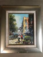 "Vintage ""European Street And Market Scene"" Oil Painting - Framed"
