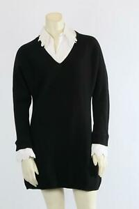 ANNE FONTAINE Alexane Black Collared Lace Knitted Sweater Tunic Top Size 38