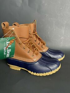 "L.L. Bean Boots 8"" Tan/Navy Womens Size 8M  Duck Boot"