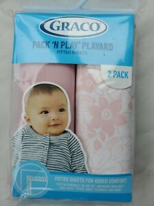 """New Graco Pack 'N Play Playard Fitted Sheet Floral Pink Print 39"""" X 27""""."""