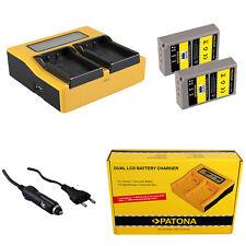 2x Batteria Patona + caricabatteria rapido DUAL LCD per Olympus Pen E-PM1