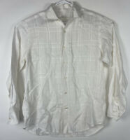 Men's Tommy Bahama 100% Linen Solid White Long Sleeve Button Front Shirt Size S