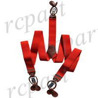 New Y back Men's convertible suspender Red elastic braces_brown button holes