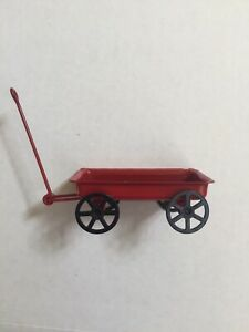 """⭐️Miniature Red Metal Wagon w/Moving Wheels for Dollhouse 3.5"""" long"""