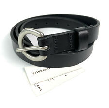 RM Williams Womens Thin Black Leather and Brass Belt Size 38 Made in Australia