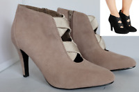 M&S WIDER FIT Grey Suede Stiletto Ankle Boots with Insolia & Stain Away RRP £55