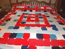 """Vintage Red/White/Blue Double Knit KING SIZE Knotted Quilt/Comfort 96"""" L x 88"""" w"""