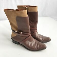 REBECCA MINKOFF BOOTS - Ankle Womens Tan/Brown Leather/Suede Mix Boots 8M