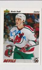91/92 Upper Deck Kevin Todd New Jersey Devils Autographed Hockey Card