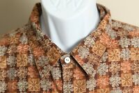 Tori Richard Men's brown, tan and blue detailed s/s hawaiian shirt 2XL XXL