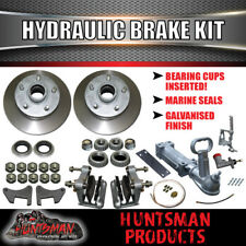 "10"" Boat Trailer 5 Stud Hydraulic Disc Brake Kit + Full coupling & hyd Line kit"