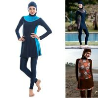 Women Burkini Muslim Swimwear Ladies Modest Swimsuits Three Piece Bathing Suits