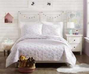Jessica Simpson White Pink Flower Heart Twin 2 Pc Quilt Set Tween Girls Bedding