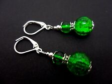 A PAIR OF TIBETAN SILVER GREEN CRACKLE GLASS BEAD LEVERBACK HOOK EARRINGS. NEW.
