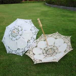 White Lace Parasol Flower Women Bridal Sun Umbrella Wedding Party Umbrella Decor
