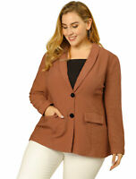 Women's Plus Size Blazer Shawl Collar Work Casual Blazers