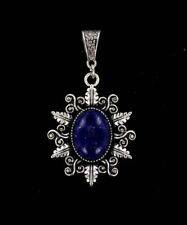 LAPIS LAZULI  GEMSTONE PENDANT  NECKLACE SILVER  PLATED SETTING