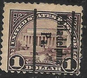 xst956 Scott 571 US Stamp 1923 $1 Dollar Lincoln Memorial Precancle Philadelphia