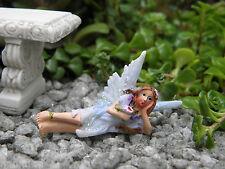 """Miniature Dollhouse FAIRY GARDEN ~ TINY 2"""" Sun Kissed Fairy BLUE ~ NEW"""